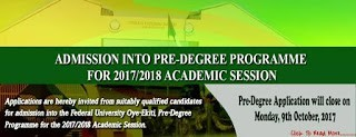FUOYE Pre-degree Admission, 2018/2019 Announced