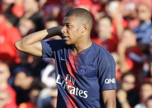 Kylian Mbappe was sent off as PSG beat Nimes in Ligue 1. AP Photo-Claude Paris