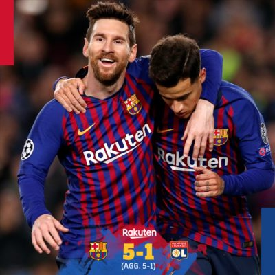 Barcelona vs Lyon 5-1 Champions league Highlights And Goals