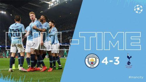 Manchester City vs Tottenham 4-3 (AGG 4-4) Highlights And Goals